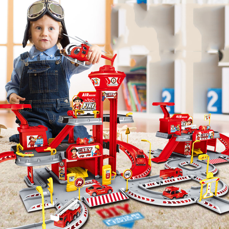 Police Station Railway Alloy Car Engineering / Police / Fire Rail Car Children Garage For Cars Toys Boy Puzzle Car Model Gift