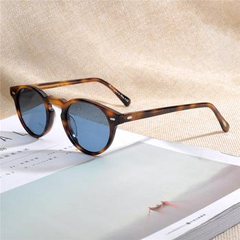 OV5186 marka projektant mężczyźni kobiety okulary w stylu Vintage spolaryzowane okulary znane marki Gregory Peck Retro okulary óculos Gafas tanie i dobre opinie Schever CN (pochodzenie) ROUND Dla osób dorosłych Z OCTANU NONE polaryzacyjne 43mm Polaroid 47mm Original case+cloth
