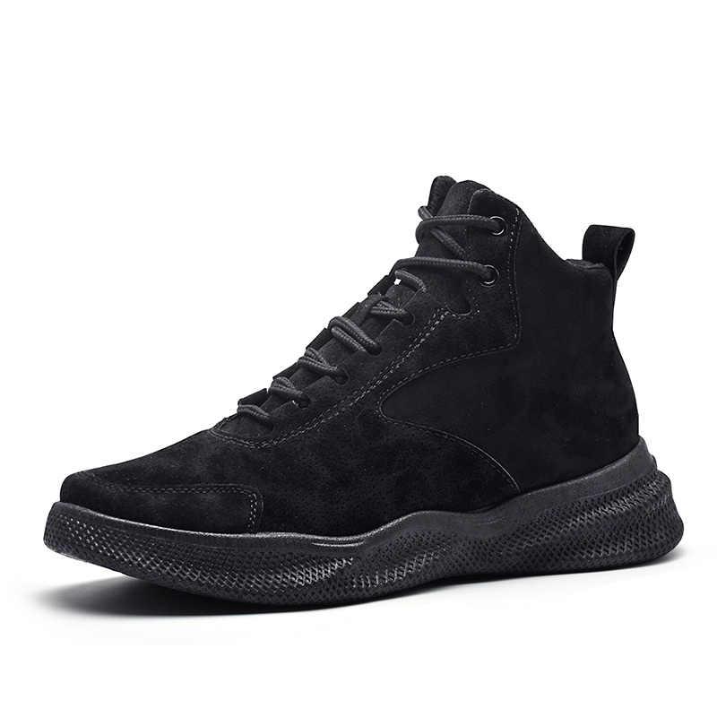 VESONAL Merk Kwaliteit PU Leer Mannen Werken Laarzen Voor Mannelijke Volwassen Winter Comfort Lace Up Enkel Laarzen Mode Trend Boot schoeisel