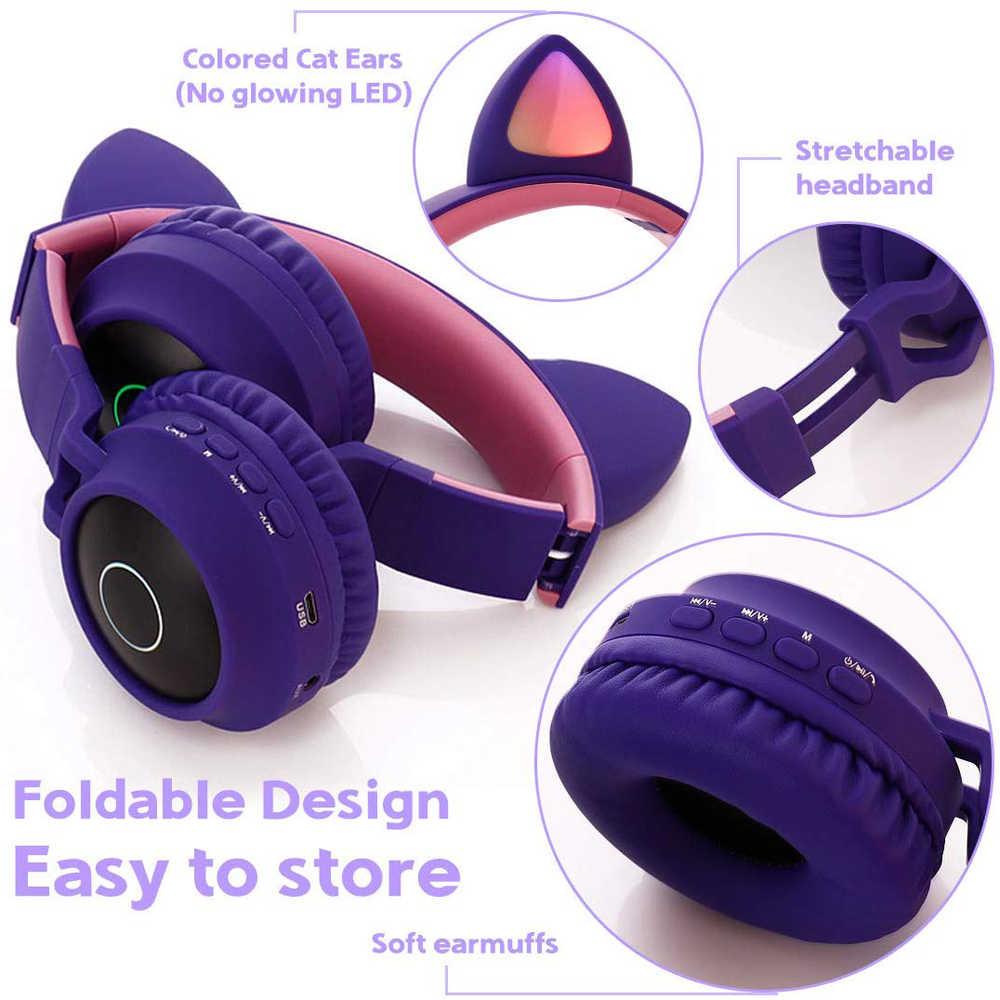 Cat Ear Bluetooth 5 0 Headphones Led Noise Cancelling Girls Kids Cute Headset Support Tf Card Jack 3 5mm Mic Wireless Headphones Aliexpress