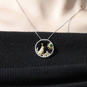 Image 2 - GEMS BALLET 925 Sterling Silver Handmade Rabbit Mushrooms Natural Chrome Diopside Pendant Necklace For Women Zodiac Jewelry
