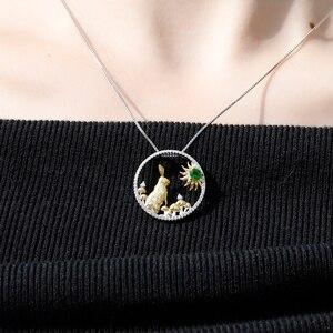 Image 2 - GEMS BALLETT 925 Sterling Silber Handgemachte Kaninchen Pilze Natürliche Chrom Diopsid Anhänger Halskette Für Frauen Sternzeichen Schmuck
