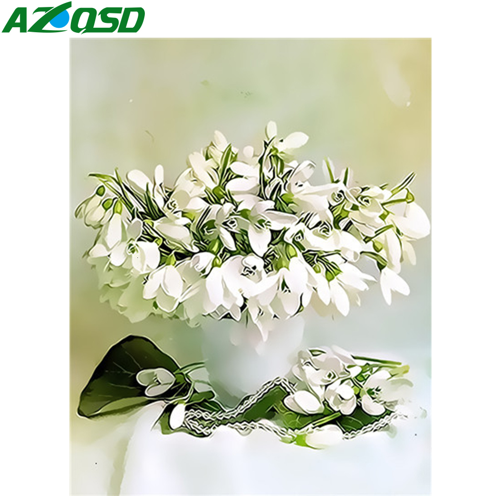 AZQSD Oil Painting By Numbers Set Floral DIY Unframe Decor For Home Coloring By Numbers Vase Acrylic Paint Handpainted Gift