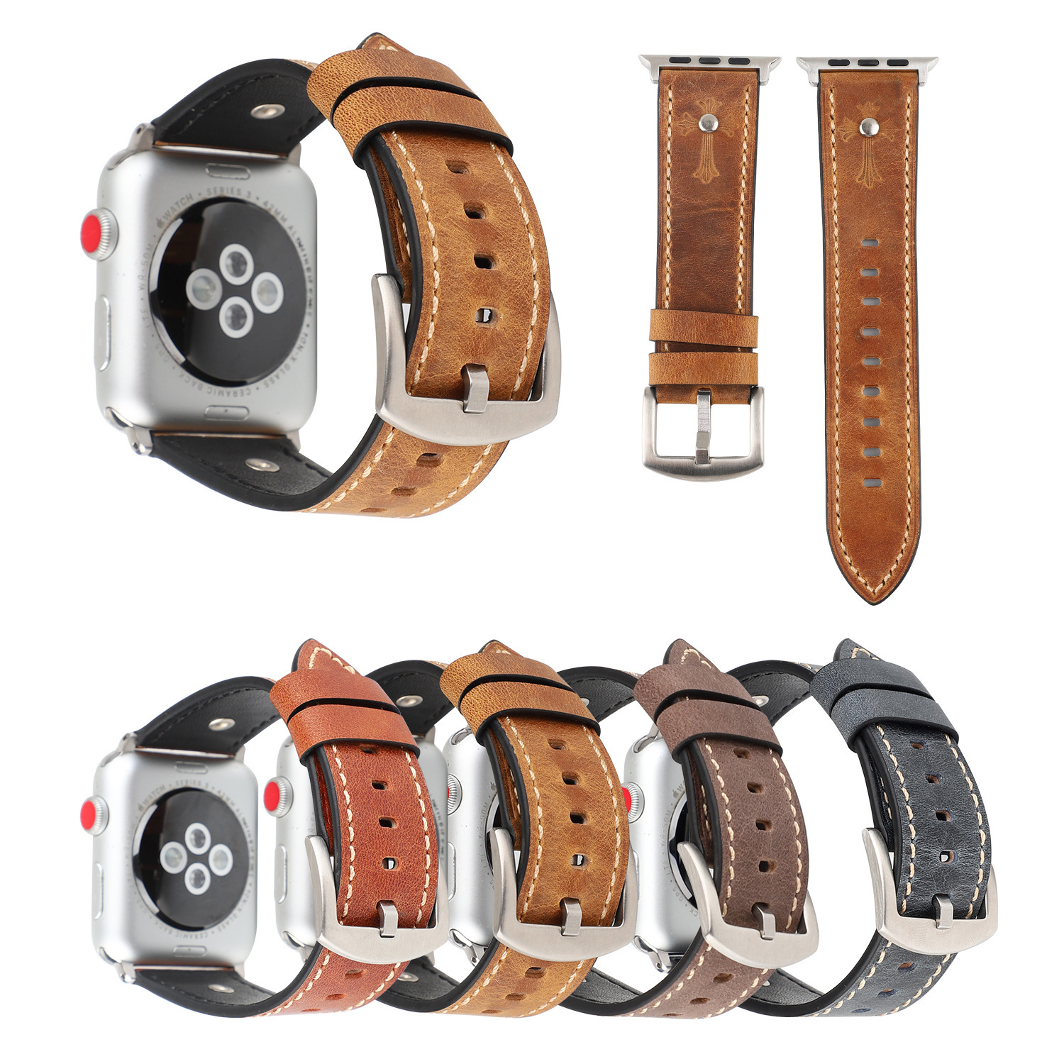 Applicable APPLE Watch4 Leather Watch Strap Apple Watch Grams Luo Xing New Style Iwatch4 Leather Watch Strap