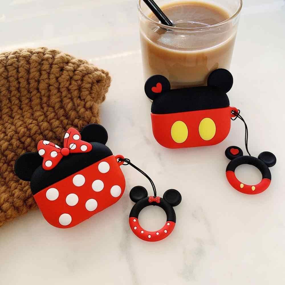 Bluetooth écouteurs sacs étui pour Airpods pro housse de protection pour airpods boîte porte-clés sangle mignon dessin animé Silicone Mickey Minnie