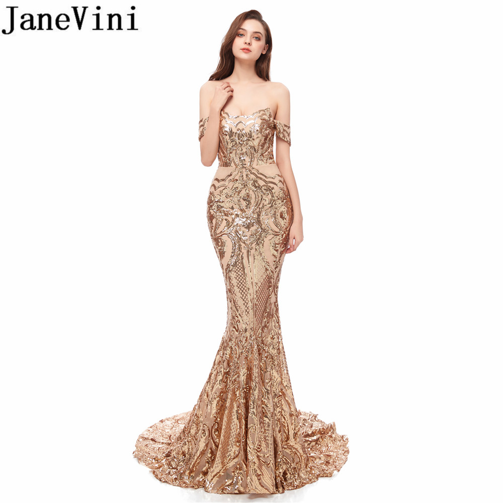 JaneVini Luxury Gold   Prom     Dresses   Long Arabic Mermaid Party Gowns Sexy Off Shoulder Gleaming Sequin Ladies Formal Evening   Dress