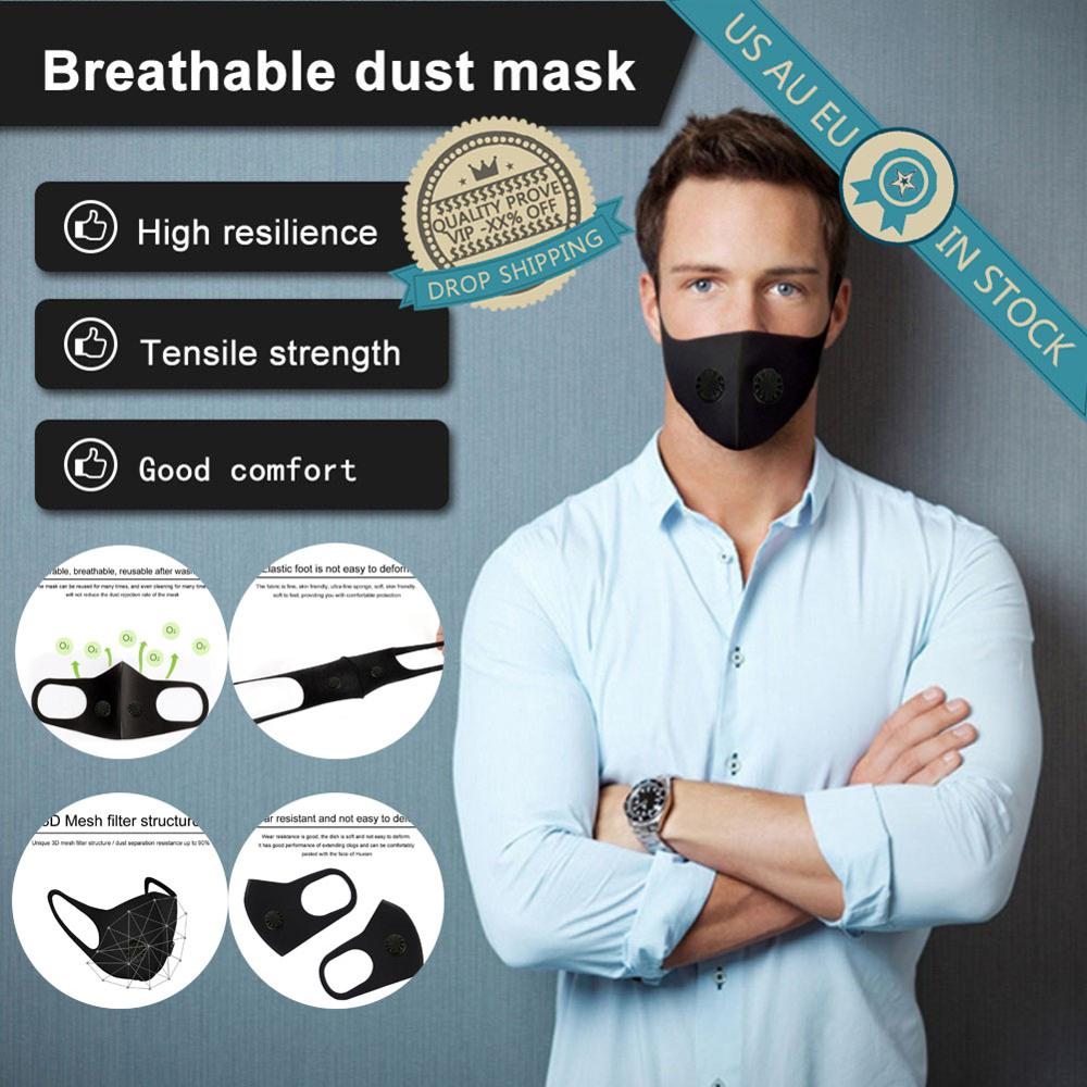 In Stock Air Purifying Valve Face Masks PM2.5 Reusable Mouth Mask Washable Dust Proof Black Face Mask Sponge Breathable Soft