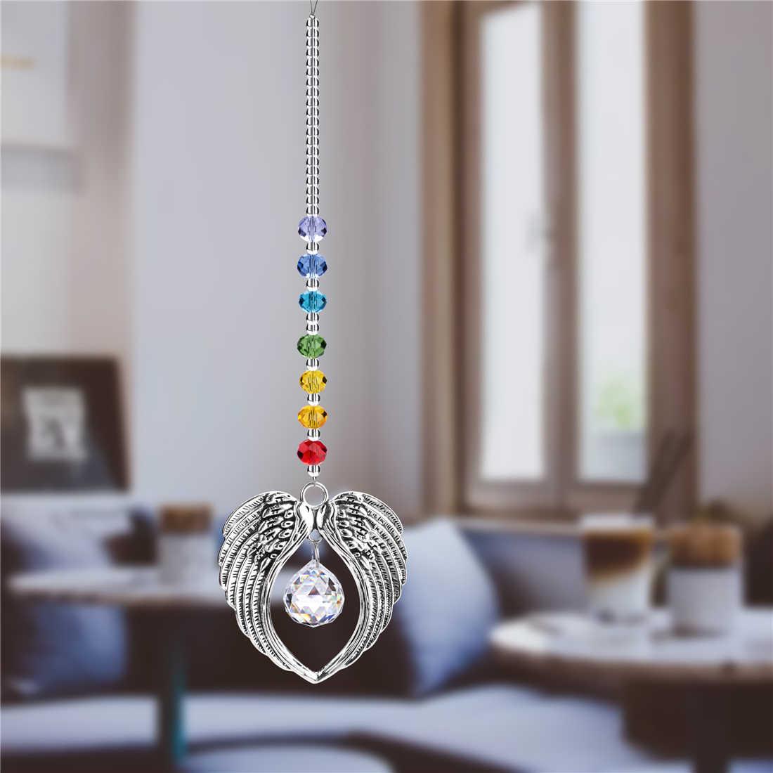 H & D Crystal Malaikat Sayap Liontin dengan Bola Kristal Rainbow Pembuat Hiasan Suncatcher untuk Jendela Dekorasi Taman Rumah Hadiah