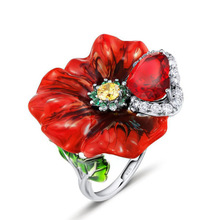 Huitan Hyperbole Bloody Rose Women Ring With Colorful Cubic Zircon Stone Luxury Heart For Female 2019 New Arrival Jewelry