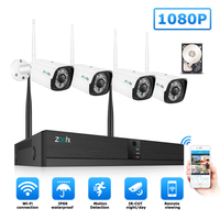Zoohi 1080P Wireless Surveillance System Security System Video Surveillance Kit 4CH WIFI CCTV System outdoor CCTV Camera System