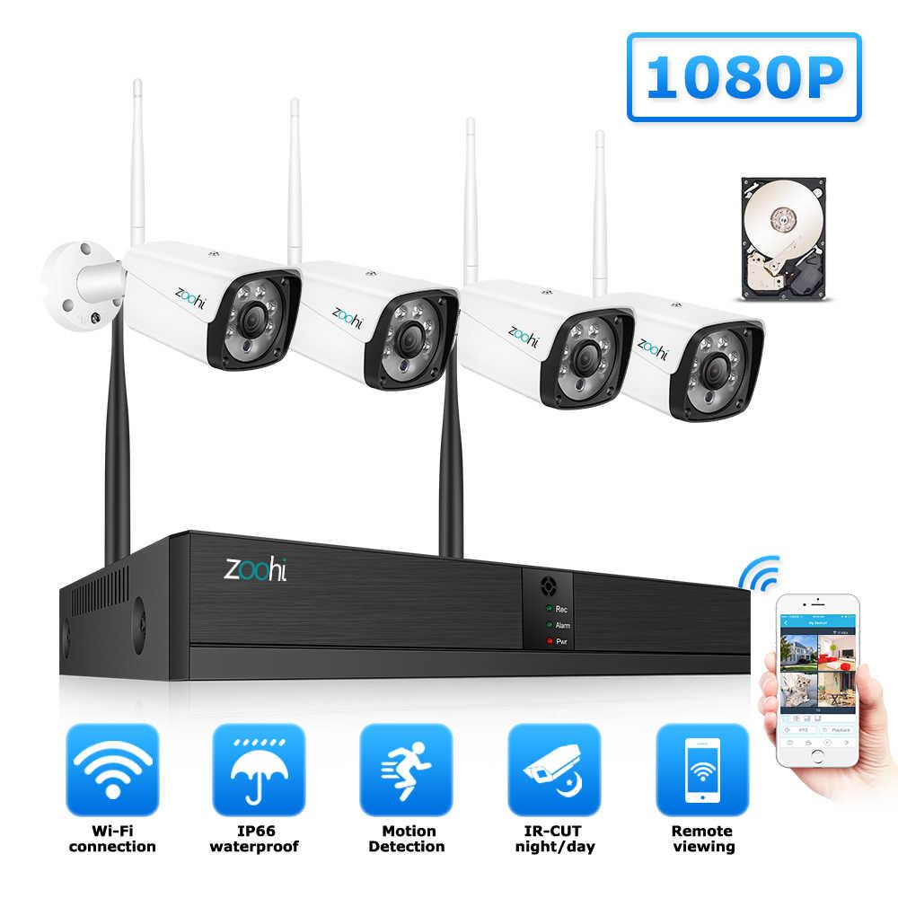Zoohi Sistem CCTV Nirkabel Sistem Surveilans Kit 1080P 2MP Kamera Keamanan Rumah Sistem Kolam WiFi Kamera Keamanan Sistem IR