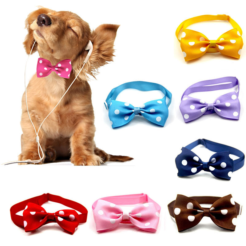 Christmas Cat Dog Collar Holiday Cats Dog Bow Tie Adjustable Neck Strap Cat Dog Grooming Accessories Puppy Cat Necklace