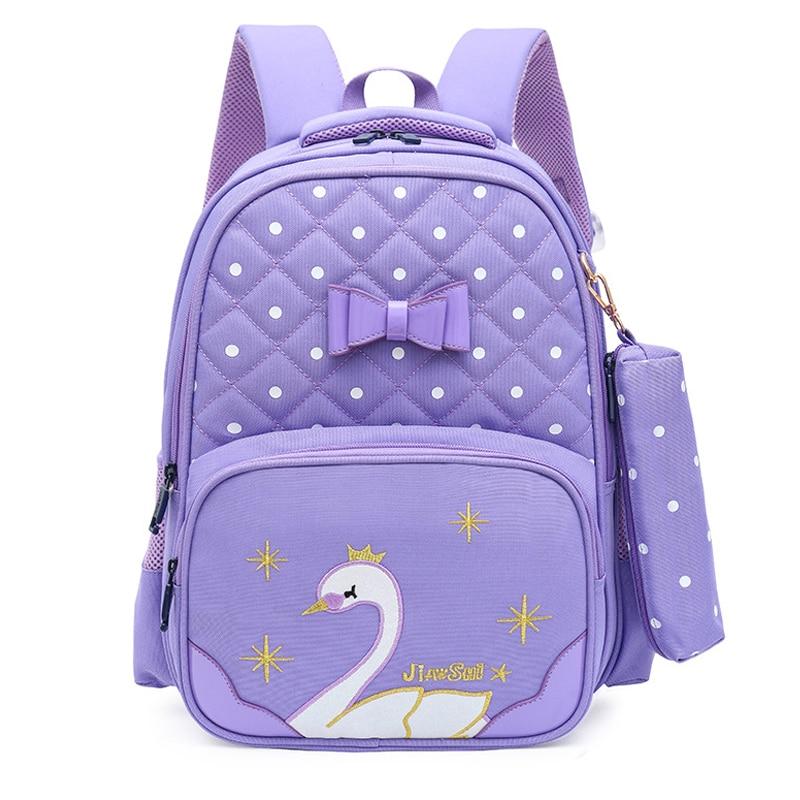 2020 Swan School Bags For Girls Cute Backpacks Children Orthopedis Backpack Cartoon Kids Bag Large Primary Book Mochila Infantil