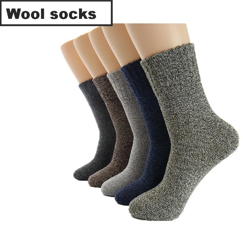 5Pairs/Lot Wool Men's Socks Winter Warm Casual Thick Cotton Snow Socks Stripe Male Harajuku Retro Dress Socks For Men Meias 2019