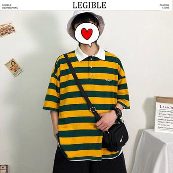 Czytelna męska koszulka Polo w paski koszule Casual koszulka Polo z krótkim rękawem koszula męska duża ilość męska koreańska koszulka Polo męska odzież tanie i dobre opinie LEGIBLE SHORT LOOSE Na co dzień NONE COTTON oddychająca Kolor kontrastu