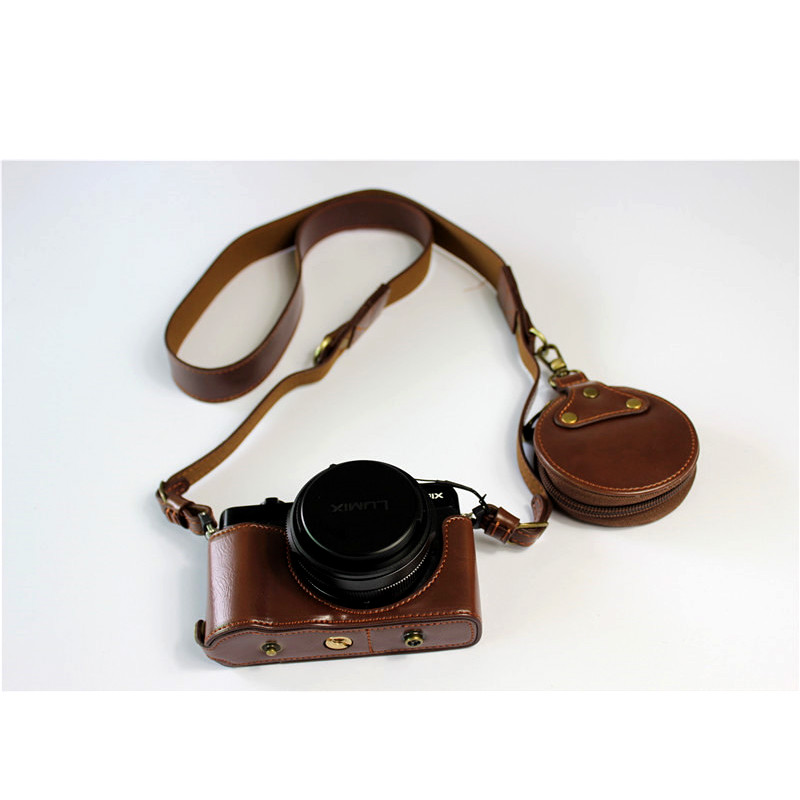 PU Leather Camera Bag Case For <font><b>Panasonic</b></font> <font><b>LUMIX</b></font> LX100II LX100M2 <font><b>LX100</b></font> M2 <font><b>LX100</b></font> MarkII Protective Cover With strap image