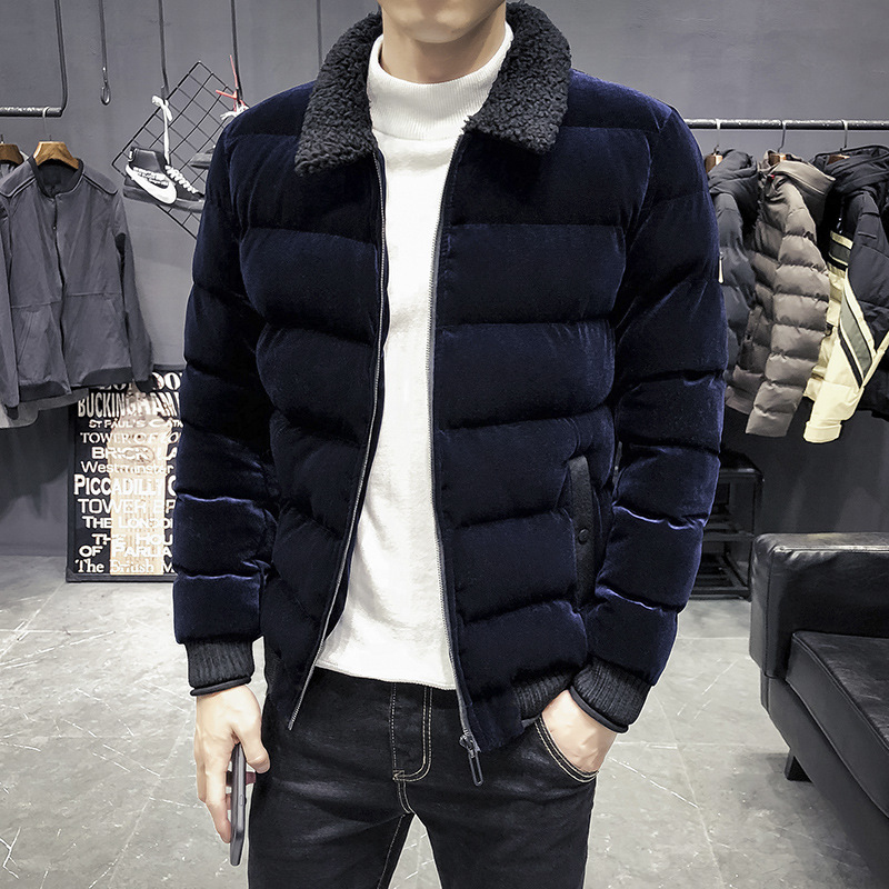 Berber Fleece Coat Men's Autumn And Winter New Style Trend Handsome Coat Korean-style Casual Fold-down Collar Cotton-padded Jack