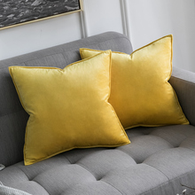 Decorative Velvet Throw Pillow Cover Soft Dark Blue Soild Square Cushion Case for Sofa Bedroom Car 18x 18 Inch