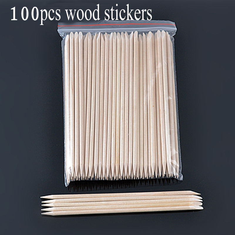 100pc Nail Art Wood Stick Double End Cuticle Pusher Remover Nail Designs Nail Art Stick Wooden Manicure Pedicure Care Tools
