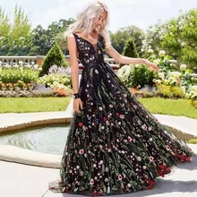 цена на Summer Long Dress Black Embroidery Sleeveless V Neck A Line Floor Length For Evening Party Night Vestidos Dresses High Quality