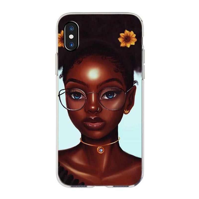 MaiYaCa nouveau personnalisé mélanine POPPIN noir fille téléphone étui pour iphone 11 Pro XS Max XR 8 7 6 6S Plus X 5S SE