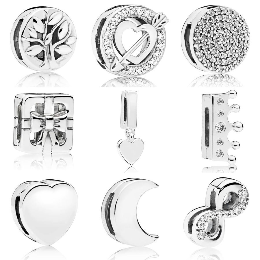 Real 925 Sterling Silver Reflexions Tree of Life Charm Fit pandora Reflexions Bracelet Dazzling Elegance Clip Charm DIY Jewelry(China)