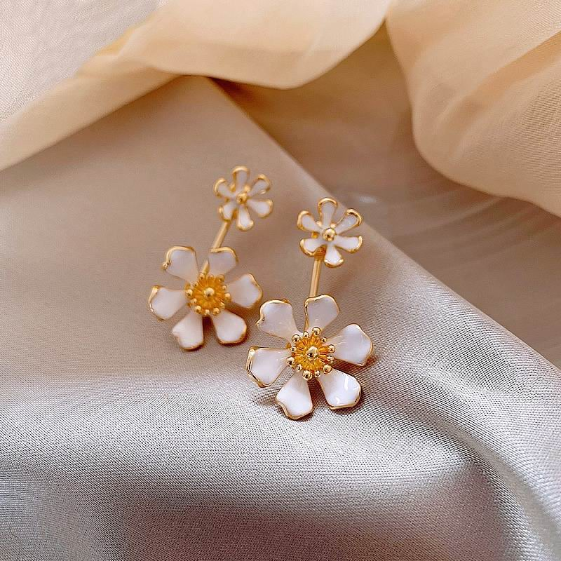 2020 New Flower Petal Earrings For Women Front And Back Design Pendientes Chic Jewelry Wholesale Multi-function(China)