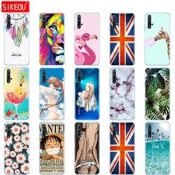 For Huawei Nova 5T Case Soft TPU Back Silicon Phone Cover For Nova5T 5 T YAL-L21 6.26'' Fundas Coque Bumper Bear Flower