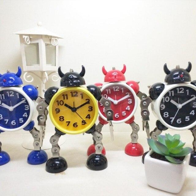 Novedad devanadera de dibujos animados inteligente reloj despertador robot Pantalla de imagen portátil relojes digitales hogar escritorio decoración regalos para niños chico