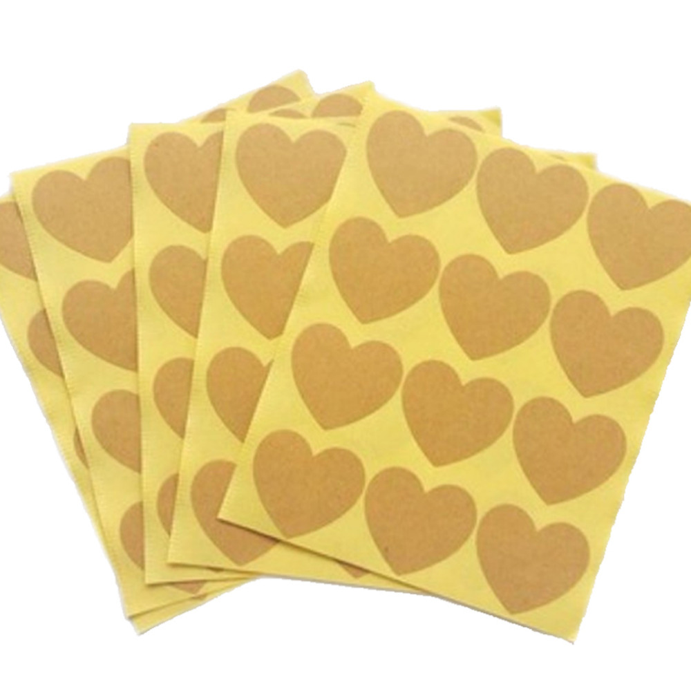 120pcs/10 sheet Heart Shape Kraft Paper Adhesive Label  Sticker Seal Labels, Candy Biscuits Dessert Bags Envelope Packaging-0
