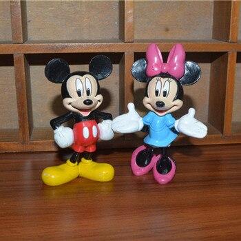 12PCS 8cm Disney Mickey Haus Mickey Maus Minnie klassische puppe modell ornamente sammlung ornamente