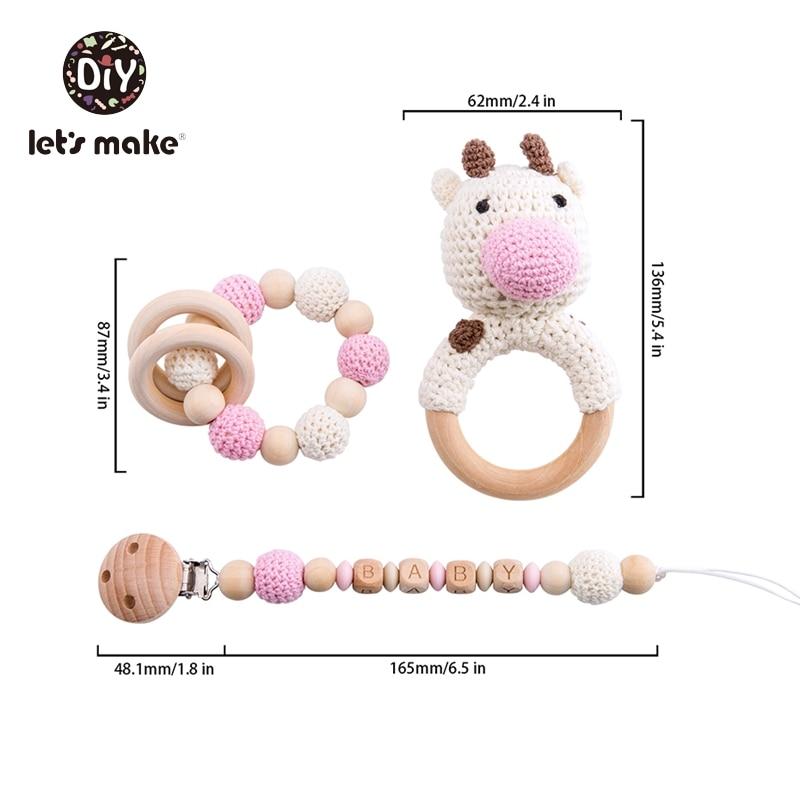 Let's Make Baby Rattles Set Crochet Animal Elk Amigurumi Elephant Baby Teether Wooden Pacifier ChainBPA Free Nursing Rattle Toys