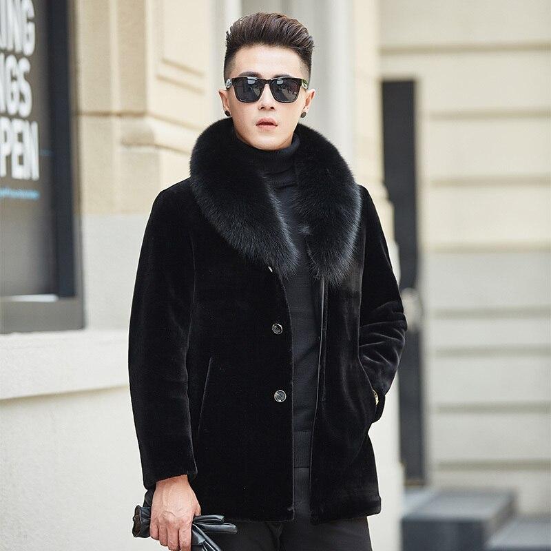 Real Fur Coat Men Natural Wool Coat Autumn Winter Sheep Shearing Jacket Men's Fox Fur Collar Warm Outwear Veste Homme YY619