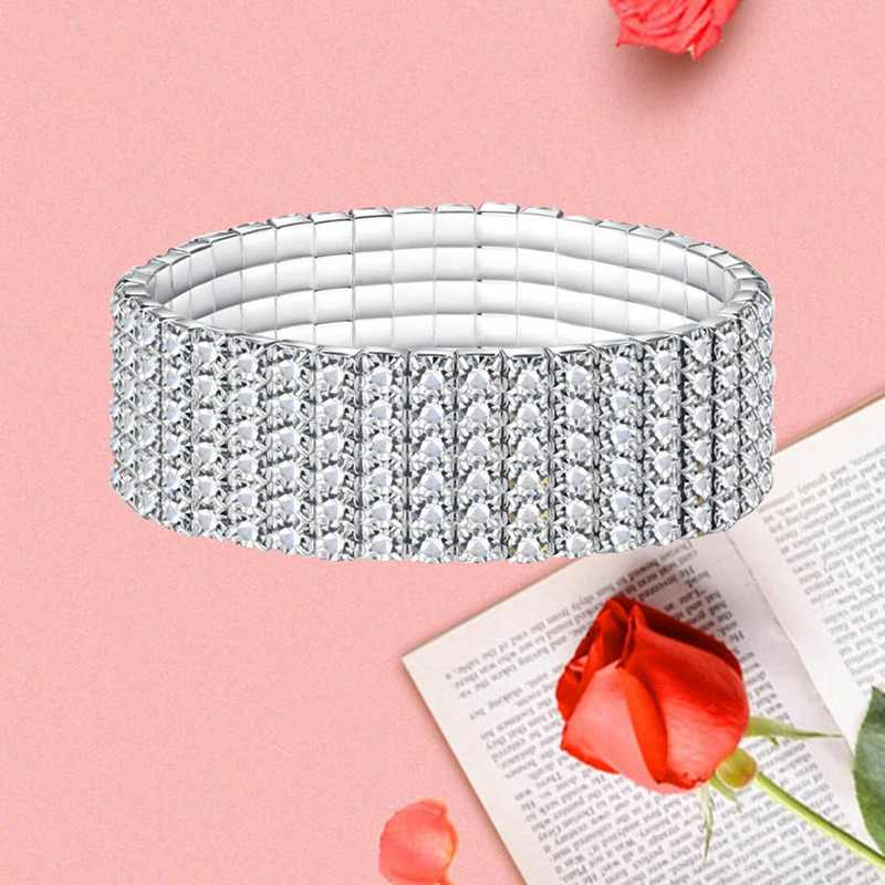 1 ppiezas pulseras y brazaletes de cristal de diamantes de imitación pulsera elástica para mujer joyería de boda