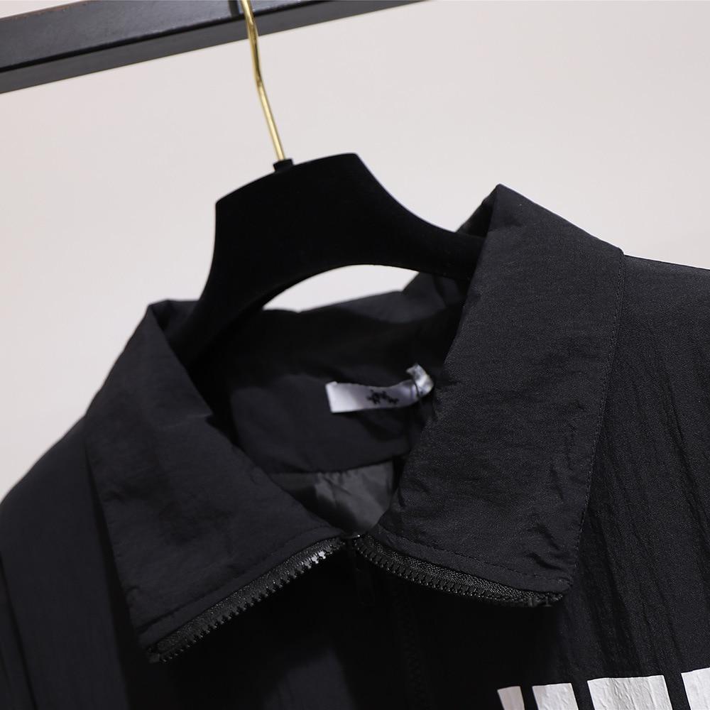Image 3 - Весна Осень 2020, большие размеры, куртка для женщин, большие  повседневные свободные пальто на молнии с длинным рукавом и принтом, с  отворотом, белый 3XL 4XL 5XL 6XL 7XLБазовые куртки