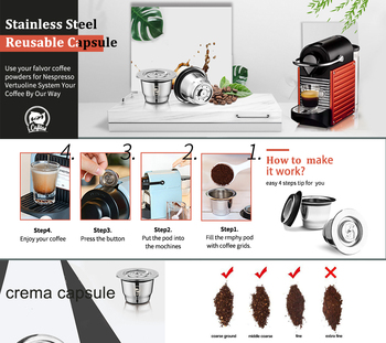 Capsule For Nespresso Reutilisable Inox 2 In 1 Usage Refillable Capsule Crema Espresso Reusable Refillable Coffee Filter 6