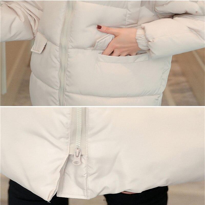 New Autumn winter Women parka Solid zipper Long sleeve Hooded Medium length Thick Outwear Coat Jacket 2019 Fashion Cotton 5