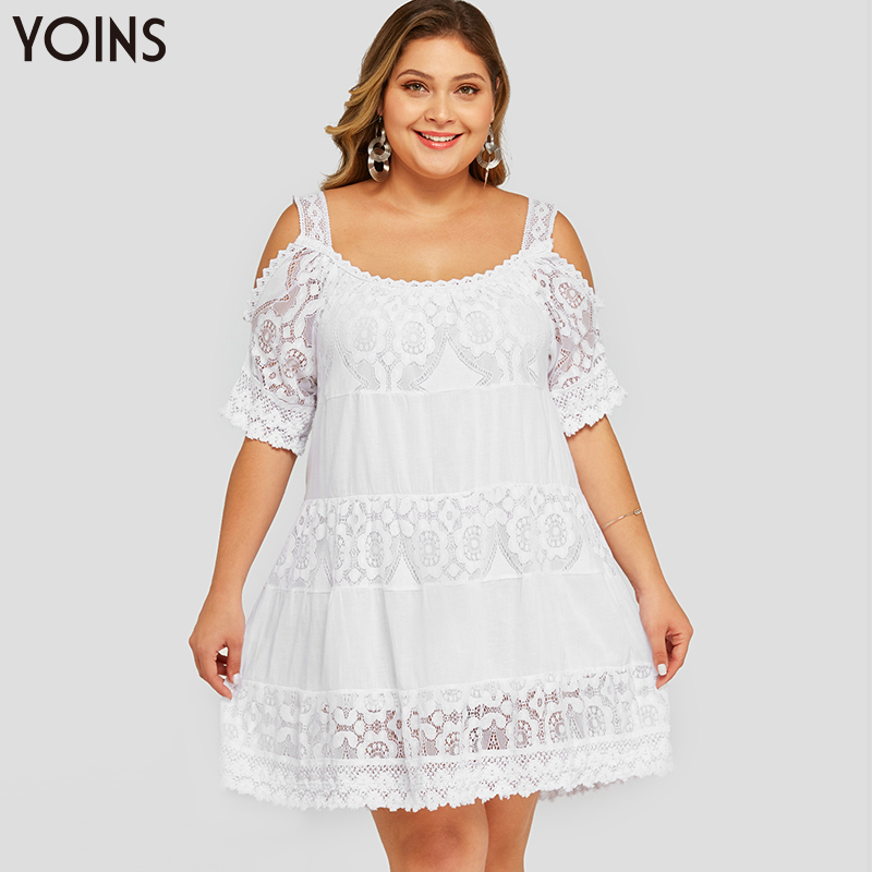 YOINS Women Hollow Cold Shoulder Crochet Lace Sheer Half Sleeve Dress 2019 Elegant Mini Dresses White Plus Size Spring Summer