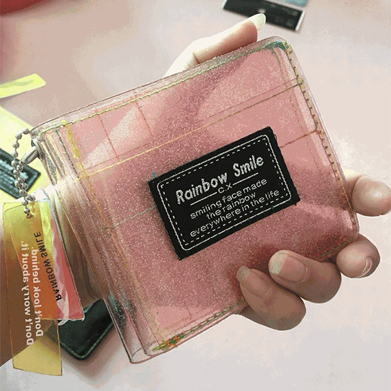 Women PVC Laser Letter ID Card Holder Student Transparent Small Glittering Wallet Credit New Business Card Bag Girl Square Purse