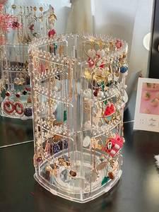 Earrings Storage-Box Jewelry Organizer Showcase-Stand Display Rotating Acrylic Transparent