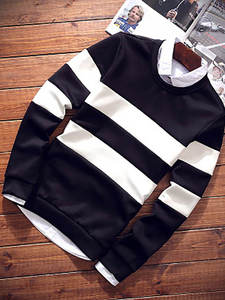 Casual Tshirt Pullover Tops Wild-Clothing Spring Slim-Fit Youth Striped Fashion Men