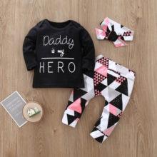 Bébé fille vêtements ensemble à manches longues noir lettre impression et géométrie pantalon et bandeau 3 pièces/ensemble nouveau-né vêtements infantile costumes