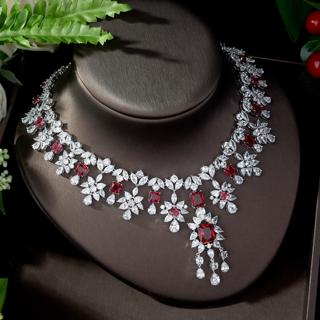 Jewelry Sets bfx0014 HIBRIDE Elegant Famous Design AAA Cubic Zirconia Red Jewelry Sets for Women Water Drop Shape Necklace