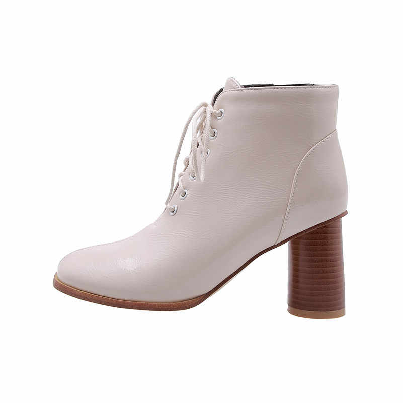 Meotina Mùa Đông Cổ Chân Giày Nữ Bằng Sáng Chế Da Vòng Giày Cao Gót Giày Boot Cổ Ngắn Thời Trang Phối Ren Giày Nữ Mùa Thu Plus Kích Thước 33-46