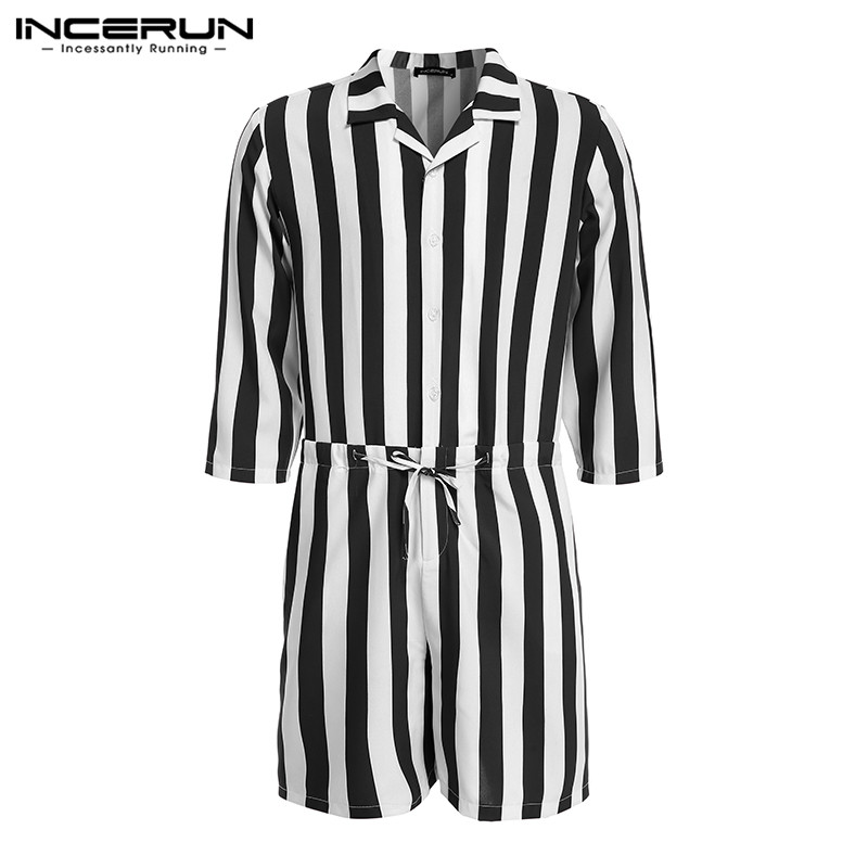 INCERUN Striped Men Rompers Button 3/4 Sleeve Lapel 2020 Streetwear Fashion Jumpsuit Trousers Men Casual Playsuit Overalls S-5XL