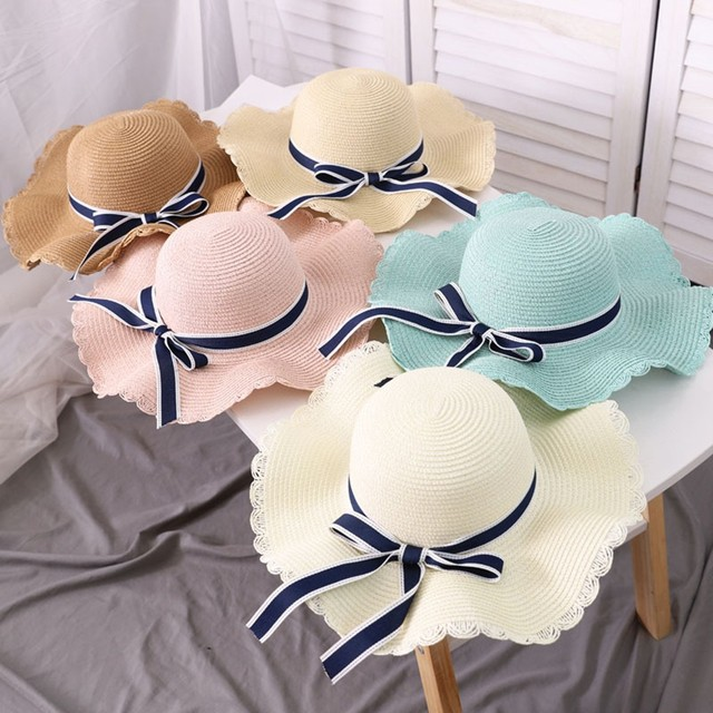 Fashion hats for women Summer Big Straw Hat Sun Floppy Wide Hats New Bowknot Folding Beach Cap Hot Sle