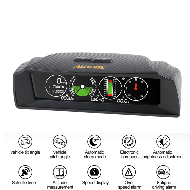 AUTOOL X90 GPS Speed Slope Meter Inclinometer Car HUD Pitch Automotive Tilt Angle Protractor  Latitude Longitude Compass