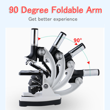 цена на 100X-1200X Biological Microscope Set Student Educational School Science Biological Microscope For Kids Child Toy Gift