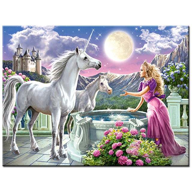 Painting By Numbers Mythical Beast Unicorn Princess