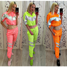 Two-piece set women clothing Personality color splicing zipper reflective leisure sports suit running two-piece separate